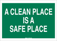 Brady B-120 Fiberglass Reinforced Polyester Rectangle Green Keep Clean Sign - 14 in Width x 10 in Height - 69364