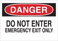 Brady B-302 Polyester Rectangle White Emergency Exit Sign - 10 in Width x 7 in Height - Laminated - 84056
