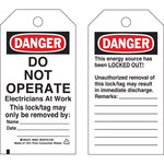 Brady 65443 Black / Red on White Cardstock Lockout / Tagout Tag - 3 in Width - 5 3/4 in Height - B-853
