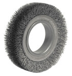 Weiler Steel Wheel Brush 0.0118 in Bristle Diameter - Arbor Attachment - 4 1/2 in Outside Diameter - 2 in Center Hole Size - 06020