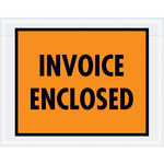 Orange Invoice Enclosed Envelopes - 7 in x 5.5 in - 2 Mil Poly Thick - SHP-8272