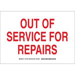 Brady B-555 Aluminum White Out of Service Sign - 10 in Width x 7 in Height - 127962