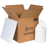Shipping Supply Kraft 1 Gallon Plastic Jug Shipper Kit - 12.0625 in x 12.0625 in x 12.75 in - SHP-2254