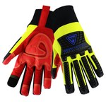 West Chester R2 Safety Rigger 87811 Yellow/Red Large Synthetic Fleece/Leather Cold Condition Gloves - TPR Back of Hand and Fingers Coating - 87811/L