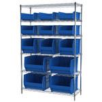 Akro-Mils Akrobin 2000 lb Adjustable Blue Chrome Steel Open Adjustable Fixed Shelving System - 3 Bins, 4 Bins - 2000 lb Total Capacity - AWS1848SAB BLUE