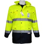 Global Glove Frogwear GLO-P1 Black/Yellow Large Polyester Cold Condition Jacket - 9 Pockets - Storable Hood - GLO-P1 LG