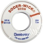 Chemtronics Soder-Wick #50 Blue Rosin Flux Core Desoldering Braid - 25 ft Length - 0.11 in Diameter - Rosin Flux Core - 50-4-25