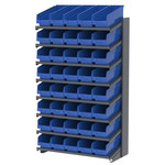 Akro-Mils APRS 900 lb Blue Gray Steel 16 ga Single Sided Fixed Rack - 36 3/4 in Overall Length - 40 Bins - Bins Included - APRS18098 BLUE
