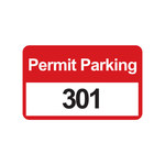 Brady 96252 Black / Red on White Rectangle Vinyl Parking Permit Label - 4 3/4 in Width - 2 3/4 in Height - Print Number(s) = 301 to 400