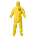 Kimberly-Clark Kleenguard A70 Yellow Large Polyethylene/Polypropylene Disposable Chemical-Resistant Coveralls - 036000-00683