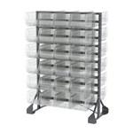 Akro-Mils 300 500 lb Clear Polypropylene Double Sided Fixed Rack - 48 Bins - Bins Included - 30016240SC