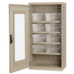 Akro-Mils Akrodrawers 350 lb Putty Steel 18 ga Non-Stackable Secure Mini-Cabinet - 13 1/4 in Overall Length - 19 1/4 in Width - 38 in Height - 8 Drawer - Lockable - ACQV4P82 CLEAR