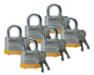 Brady Yellow Steel 5-pin Keyed & Safety Padlock 51282 - 1 9/16 in Width - 1 1/3 in Height - 17/64 in Shackle Diameter - 2 Key(s) Included - 754476-51282