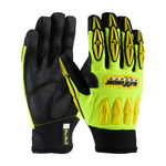 PIP Maximum Safety Mad Max 120-4000 Black/Yellow Large Synthetic Nylon/Polyurethane/Spandex/Synthetic Leather Work Gloves - PVC Palm & Fingers Coating - 10.3 in Length - 120-4000/L