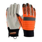 PIP Maximum Safety Derrickmen 120-4720 Black/Orange/White Large Cotton/Nylon/Polyurethane/Spandex Work Gloves - 9.9 in Length - 120-4720/L