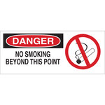 Brady B-120 Fiberglass Reinforced Polyester Rectangle White No Smoking Sign - 17 in Width x 7 in Height - 70452