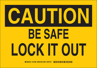 Brady B-555 Aluminum Rectangle Yellow Lockout Sign - 10 in Width x 7 in Height - 127482