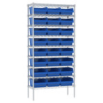 Akro-Mils Adjustable Blue Chrome Steel Open Adjustable Wire Shelving - 24 - AWS143630010 BLUE