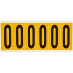 Brady 15 Series 1550-0 Black on Yellow Vinyl Number Label - Indoor / Outdoor - 1 1/2 in Width - 3 1/2 in Height - 2 15/16 in Character Height - B-946