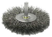 Weiler Steel Radial Bristle Brush - 4 in Outside Diameter - 0.008 in Bristle Diameter - 17968