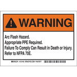 Brady 121443 Black / Orange on White Vinyl Equipment Safety Label - 7 in Width - 5 in Height - B-7569