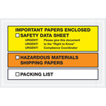 Shipping Supply Tape Logic Yellow/Orange SDS Envelopes - 6 1/2 in x 10 in - 2 mil Thick - SHP-13136
