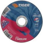 Weiler TIGER Aluminum Oxide Cutting Wheel - Type 27 - Depressed Center Wheel - 36 Grit - 5 in Diameter - 7/8 in Center Hole - 3/32 in Thick - 57083