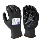 Armor Guys Duty GP 06-007 Gray/Black Large Nylon Work Gloves - Nitrile Palm & Fingers Coating - Smooth Finish - 06-007-L