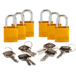 Brady Yellow Aluminum 5-pin Keyed & Safety Padlock 133264 - 1 1/4 in Width - 1 1/4 in Height - 1/4 in Shackle Diameter - 2 Key(s) Included - 754473-89899