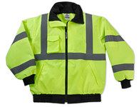 Ergodyne Glowear 8379 High-Visibility Lime Large Polyester Work Jacket - Attached Hood - Fits 38 to 42 in Chest - 720476-24474