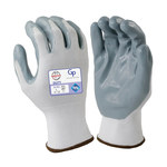 Armor Guys Duty GP 06-008 White/Gray Large Nylon Work Gloves - Nitrile Foam Palm & Fingers Coating - 06-008-L