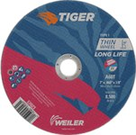 Weiler TIGER Aluminum Oxide Cutting Wheel - Type 1 - Straight Wheel - 60 Grit - 7 in Diameter - 7/8 in Center Hole -.060 in Thick - 57023
