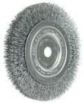 Weiler Steel Wheel Brush 0.006 in Bristle Diameter - Arbor Attachment - 6 in Outside Diameter - 5/8 to 1/2 in Center Hole Size - 01085