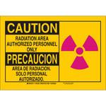 Brady B-555 Aluminum Rectangle Yellow Radiation Hazard Sign - 10 in Width x 7 in Height - Language English / Spanish - 125427