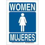 Brady B-555 Aluminum Rectangle Blue Restroom Sign - 7 in Width x 10 in Height - Language English / Spanish - 125511