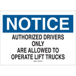 Brady B-302 Polyester Rectangle White Truck & Forklift Warehouse Traffic Sign - 10 in Width x 7 in Height - Laminated - 89129