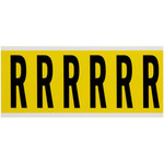 Brady 34 Series 3450-R Black on Yellow Vinyl Cloth Letter Label - Indoor - 1 1/2 in Width - 3 1/2 in Height - 2 15/16 in Character Height - B-498