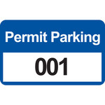 Brady 95207 Black / Blue on White Rectangle Vinyl Parking Permit Label - 4 3/4 in Width - 2 3/4 in Height - Print Number(s) = 001 to 100