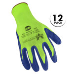 Valeo V860 Green/Blue Large Cotton/Polyester Work Gloves - Latex Palm & Fingers Coating - VI9625XL