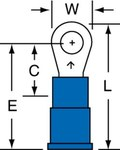 3M Scotchlok MV14-6R/SK Blue Brazed Vinyl Brazed Ring Terminal - 0.8 in Length - 0.25 in Wide - 0.09 in Inside Diameter - #6 Stud - 01414