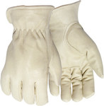 Red Steer 5670 White Large Grain Pigskin Leather Driver's Gloves - Keystone Thumb - 5670-L