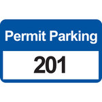 Brady 96247 Black / Blue on White Rectangle Vinyl Parking Permit Label - 4 3/4 in Width - 2 3/4 in Height - Print Number(s) = 201 to 300