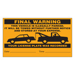 Brady 103662 Black on Orange Paper Parking Violation Label - 8 in Width - 4 1/2 in Height - 19352