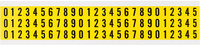 Brady 34 Series 34110 Black on Yellow Vinyl Cloth Numbers Label Kit - Indoor - 11/32 in Width - 1/2 in Height - 3/8 in Character Height