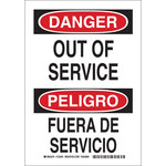 Brady B-555 Aluminum White Out of Service Sign - 7 in Width x 10 in Height - Language English / Spanish - 125289