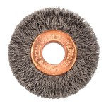 Weiler Steel Wheel Brush 0.0118 in Bristle Diameter - Arbor Attachment - 1 1/2 in Outside Diameter - 3/8 in Center Hole Size - 15332