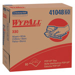 Kimberly-Clark Wypall X80 White Hydroknit Wiper - Pop-up Dispenser - 80 sheets per box - 16.8 in Overall Length - 9.1 in Width - 41048
