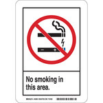 Brady B-120 Fiberglass Reinforced Polyester Rectangle White No Smoking Sign - 10 in Width x 14 in Height - 44996