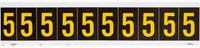 Brady 7890-5 Yellow on Black Vinyl Number Label - Indoor / Outdoor - 7/8 in Width - 1 1/2 in Height - 1 in Character Height - B-946