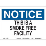 Brady B-586 Paper Rectangle White No Smoking Sign - 10 in Width x 7 in Height - 116075